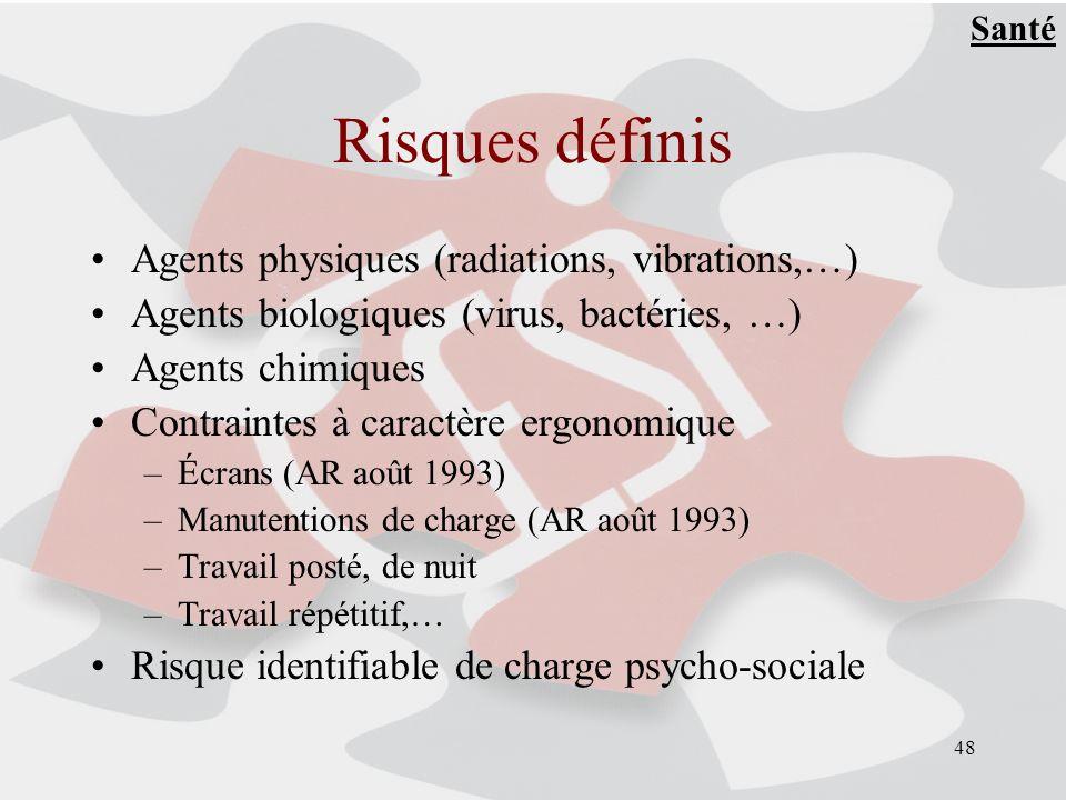 48 Risques définis Agents physiques (radiations, vibrations,…) Agents biologiques (virus, bactéries, …) Agents chimiques Contraintes à caractère ergon