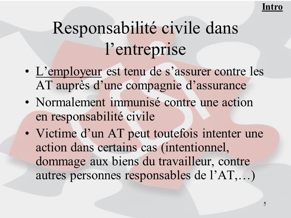 5 Responsabilité civile dans lentreprise Lemployeur est tenu de sassurer contre les AT auprès dune compagnie dassurance Normalement immunisé contre un