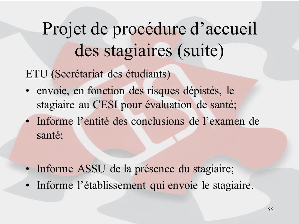 55 Projet de procédure daccueil des stagiaires (suite) ETU (Secrétariat des étudiants) envoie, en fonction des risques dépistés, le stagiaire au CESI