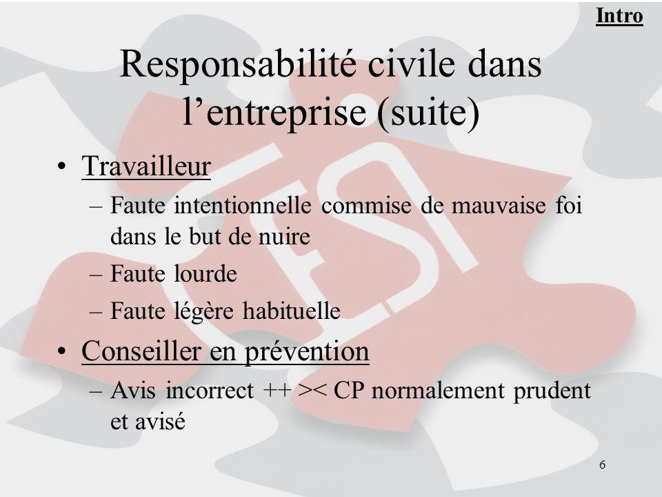 6 Responsabilité civile dans lentreprise (suite) Travailleur –Faute intentionnelle commise de mauvaise foi dans le but de nuire –Faute lourde –Faute l