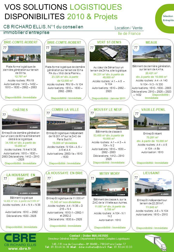 Au cœur de Sénart sur un terrain de 24 ha, site logistique. 94.331 m² div. à partir de 48.000 m² Accès routiers : A 1 – A 5 – N 104 Autorisations : 15