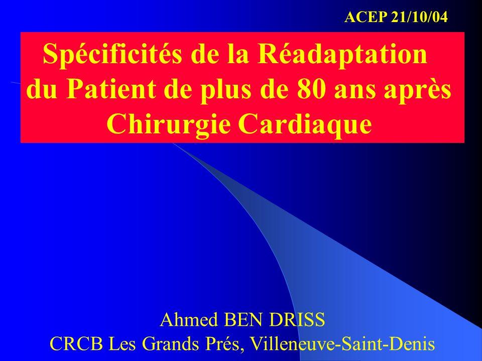 Spécificités de la Réadaptation du Patient de plus de 80 ans après Chirurgie Cardiaque Ahmed BEN DRISS CRCB Les Grands Prés, Villeneuve-Saint-Denis AC