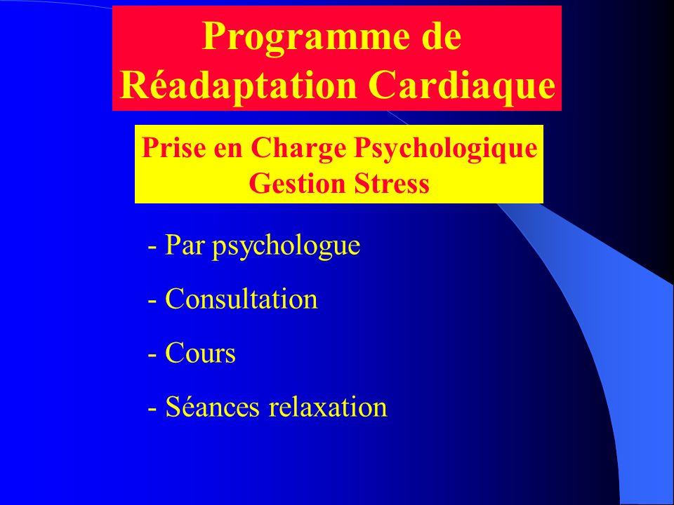 Programme de Réadaptation Cardiaque Prise en Charge Psychologique Gestion Stress - Par psychologue - Consultation - Cours - Séances relaxation