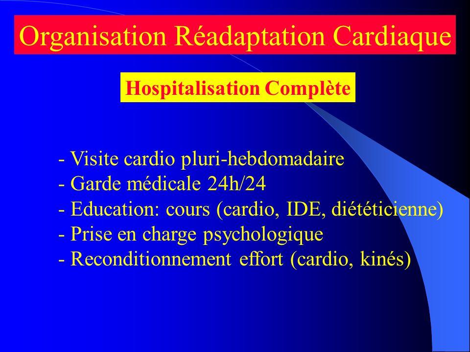 - Visite cardio pluri-hebdomadaire - Garde médicale 24h/24 - Education: cours (cardio, IDE, diététicienne) - Prise en charge psychologique - Reconditi