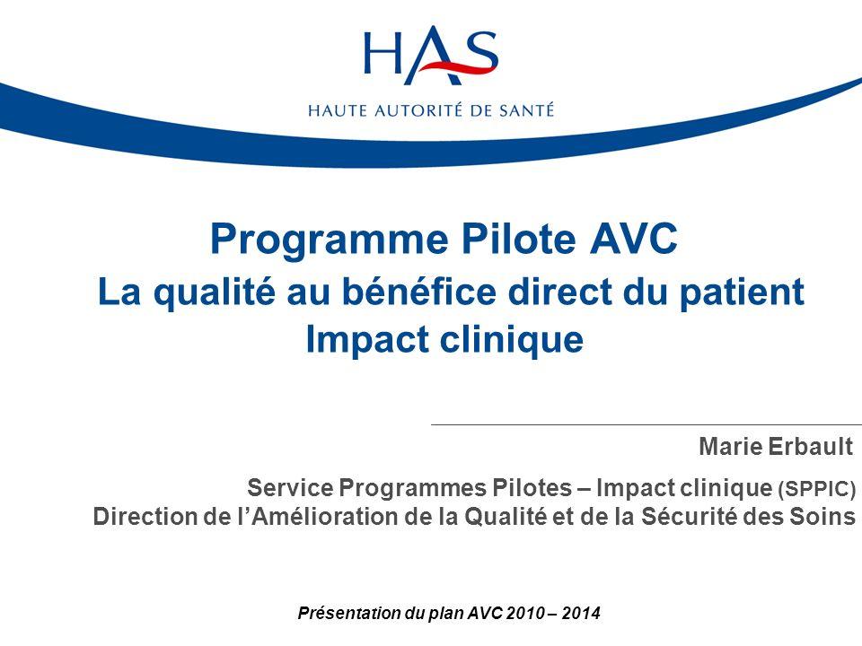 Programme Pilote AVC La qualité au bénéfice direct du patient Impact clinique Marie Erbault Service Programmes Pilotes – Impact clinique (SPPIC) Direction de lAmélioration de la Qualité et de la Sécurité des Soins Présentation du plan AVC 2010 – 2014