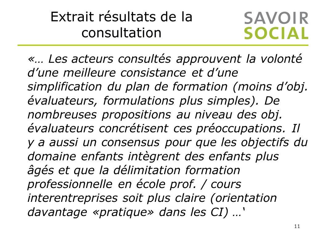 11 Extrait résultats de la consultation «… Les acteurs consultés approuvent la volonté dune meilleure consistance et dune simplification du plan de fo