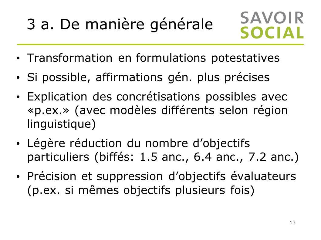 13 3 a. De manière générale Transformation en formulations potestatives Si possible, affirmations gén. plus précises Explication des concrétisations p