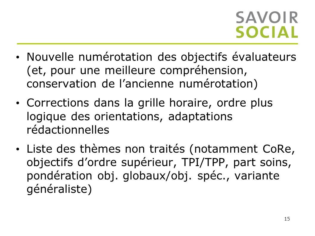 15 Nouvelle numérotation des objectifs évaluateurs (et, pour une meilleure compréhension, conservation de lancienne numérotation) Corrections dans la