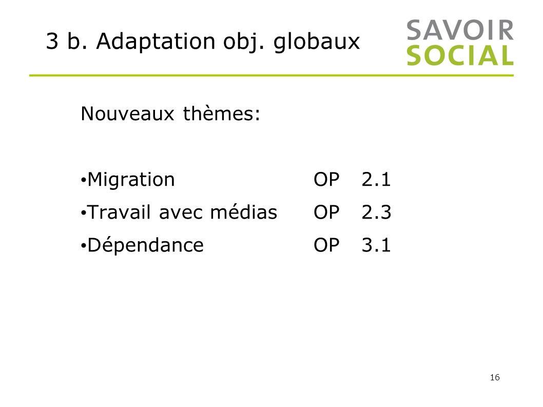 16 3 b. Adaptation obj. globaux Nouveaux thèmes: Migration OP2.1 Travail avec médiasOP2.3 DépendanceOP3.1