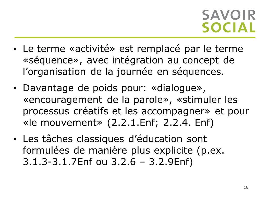 18 Le terme «activité» est remplacé par le terme «séquence», avec intégration au concept de lorganisation de la journée en séquences. Davantage de poi