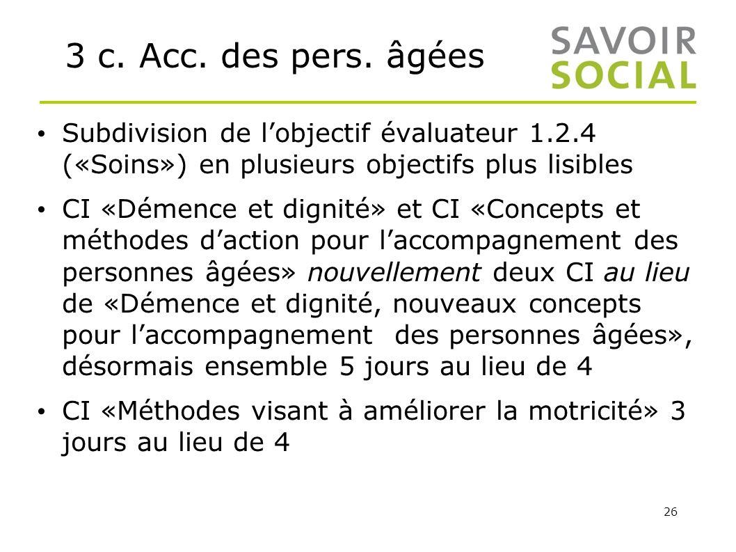 26 3 c. Acc. des pers. âgées Subdivision de lobjectif évaluateur 1.2.4 («Soins») en plusieurs objectifs plus lisibles CI «Démence et dignité» et CI «C