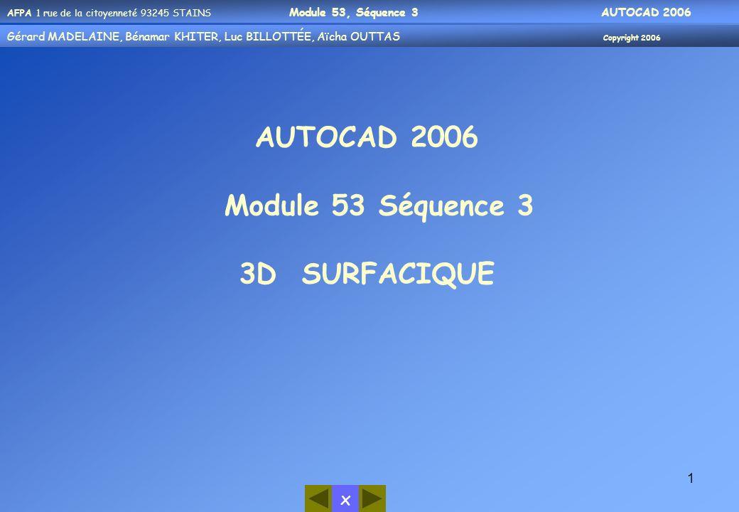 AFPA 1 rue de la citoyenneté 93245 STAINS Module 53, Séquence 3 AUTOCAD 2006 Gérard MADELAINE, Bénamar KHITER, Aicha OUUTAS Copyright 2006 Gérard MADELAINE, Bénamar KHITER, Luc BILLOTTÉE, Aïcha OUTTAS Copyright 2006 x 32 Exemple par Axe X Rectangle en 3D (0,0,0) Avec un angle de 0° Rotation du Rectangle avec le même point (0,0,0) Avec un angle de 30° Sur laxe X NB: même chose pour les axes Y et Z
