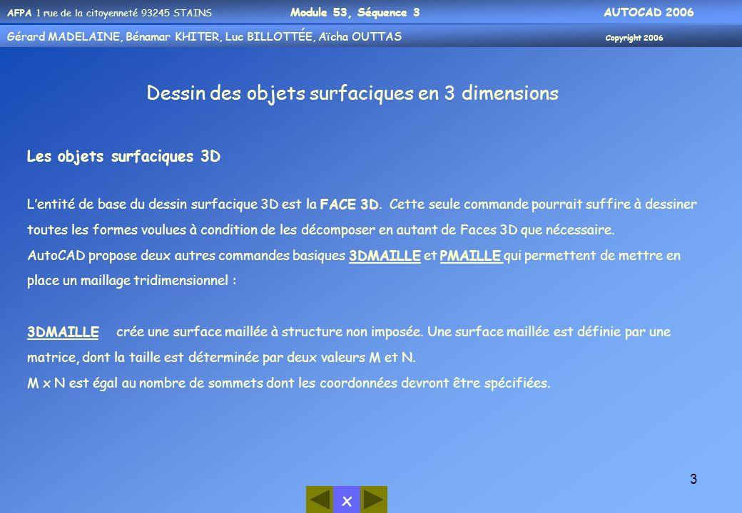 AFPA 1 rue de la citoyenneté 93245 STAINS Module 53, Séquence 3 AUTOCAD 2006 Gérard MADELAINE, Bénamar KHITER, Aicha OUUTAS Copyright 2006 Gérard MADELAINE, Bénamar KHITER, Luc BILLOTTÉE, Aïcha OUTTAS Copyright 2006 x 4 Pour obtenir cette commande:- soit par le menu Dessin… Surfaces… Surfaces 3D - soit par la barre doutils Surfaces - soit en entrant la commande 3Dmaille[ ] sur la ligne de commande Entrer une valeur de maillage En M et N