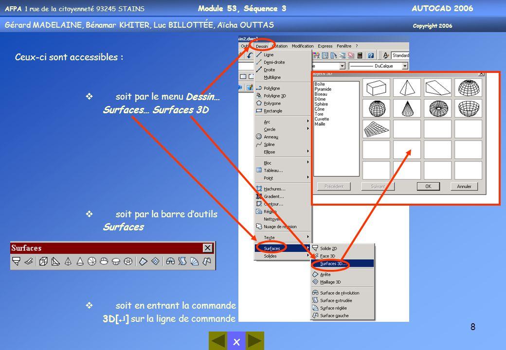 AFPA 1 rue de la citoyenneté 93245 STAINS Module 53, Séquence 3 AUTOCAD 2006 Gérard MADELAINE, Bénamar KHITER, Aicha OUUTAS Copyright 2006 Gérard MADELAINE, Bénamar KHITER, Luc BILLOTTÉE, Aïcha OUTTAS Copyright 2006 x 19 Axe Z Définit un SCU avec un axe des Z positif spécifique.