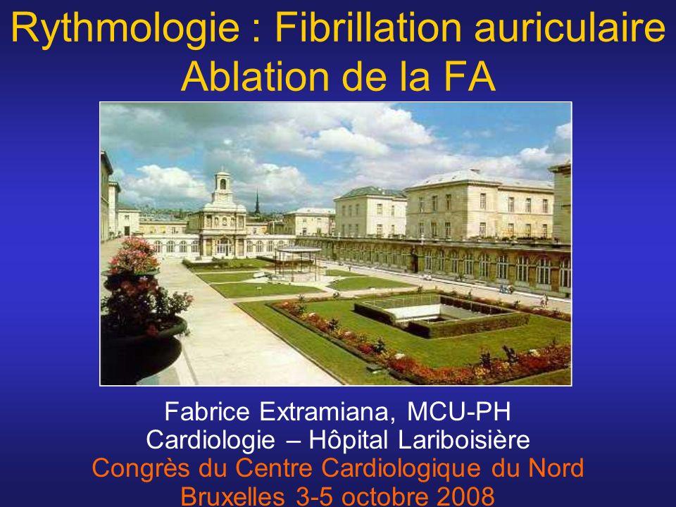 Redux : > 50% - ~ 2 procédures / patient –FA –Flutter(s) post segmentation Epanchement Péricardique /Tamponnade : >1% –pendant lablation (ponction trans-septale, pops) –retardé AVC, Infarctus du myocarde, OAP, complications vasculaires, paralysie du nerf phrénique, lasso/cordages… Fistule Atrio-oesophagienne !.