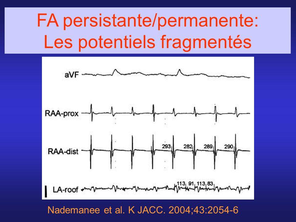 Nademanee et al. K JACC. 2004;43:2054-6 FA persistante/permanente: Les potentiels fragmentés