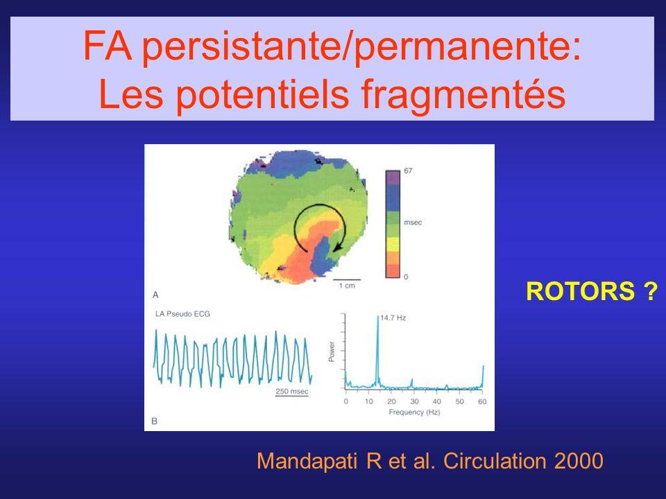 Mandapati R et al. Circulation 2000 ROTORS ? FA persistante/permanente: Les potentiels fragmentés