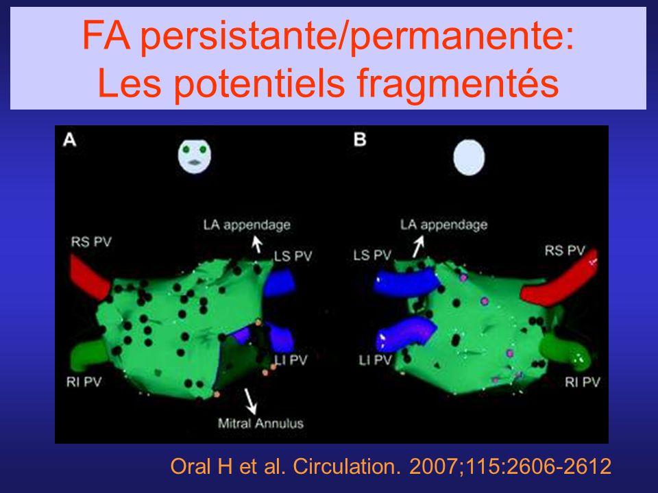Oral H et al. Circulation. 2007;115:2606-2612 FA persistante/permanente: Les potentiels fragmentés