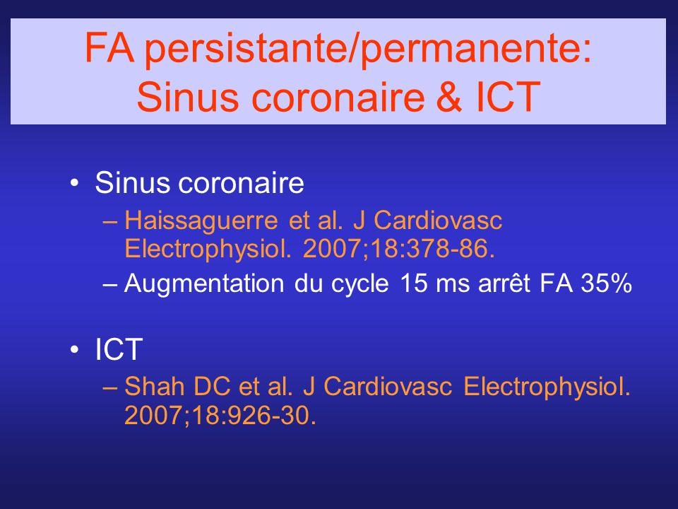 Sinus coronaire –Haissaguerre et al. J Cardiovasc Electrophysiol. 2007;18:378-86. –Augmentation du cycle 15 ms arrêt FA 35% ICT –Shah DC et al. J Card