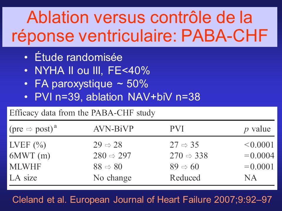 Ablation versus contrôle de la réponse ventriculaire: PABA-CHF Étude randomisée NYHA II ou III, FE<40% FA paroxystique ~ 50% PVI n=39, ablation NAV+bi