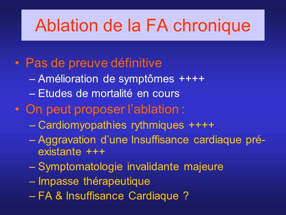 Pas de preuve définitive –Amélioration de symptômes ++++ –Etudes de mortalité en cours On peut proposer lablation : –Cardiomyopathies rythmiques ++++