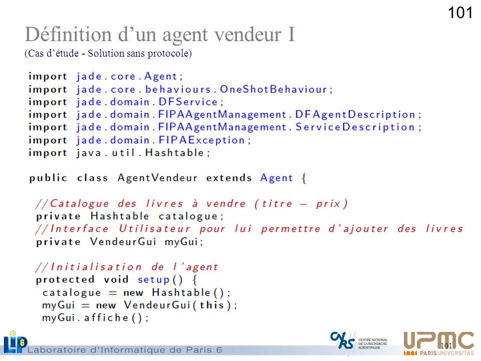 101 Définition dun agent vendeur I (Cas détude - Solution sans protocole)