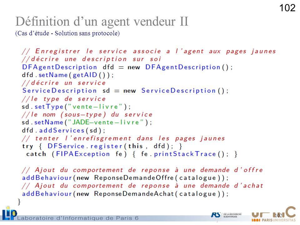 102 Définition dun agent vendeur II (Cas détude - Solution sans protocole)