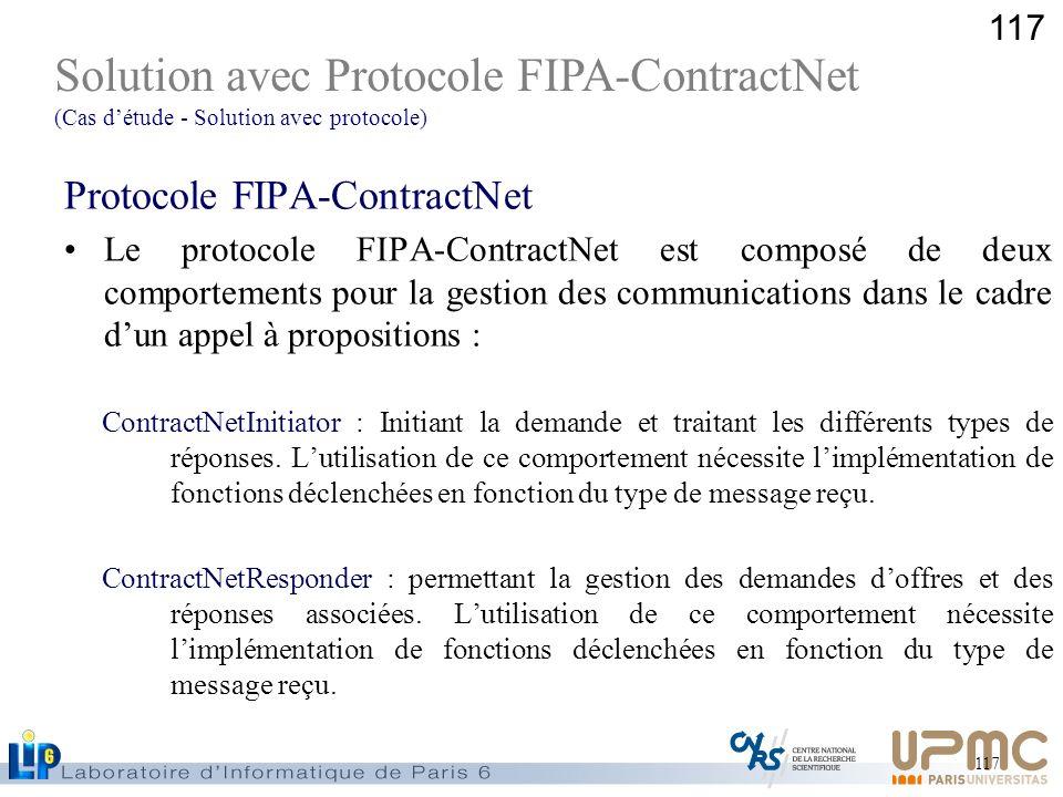 117 Protocole FIPA-ContractNet Le protocole FIPA-ContractNet est composé de deux comportements pour la gestion des communications dans le cadre dun ap