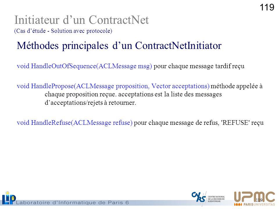 119 Méthodes principales dun ContractNetInitiator void HandleOutOfSequence(ACLMessage msg) pour chaque message tardif reçu void HandlePropose(ACLMessa