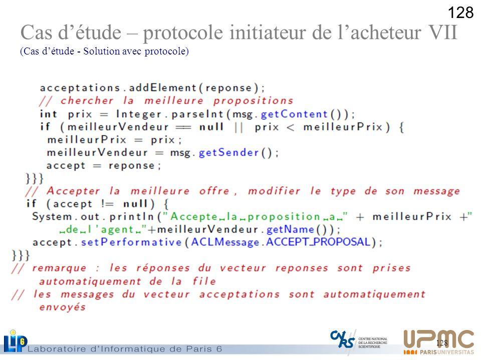 128 Cas détude – protocole initiateur de lacheteur VII (Cas détude - Solution avec protocole)
