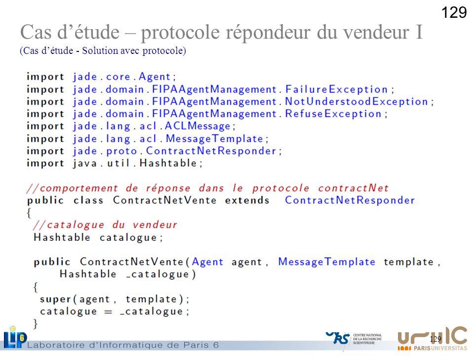 129 Cas détude – protocole répondeur du vendeur I (Cas détude - Solution avec protocole)