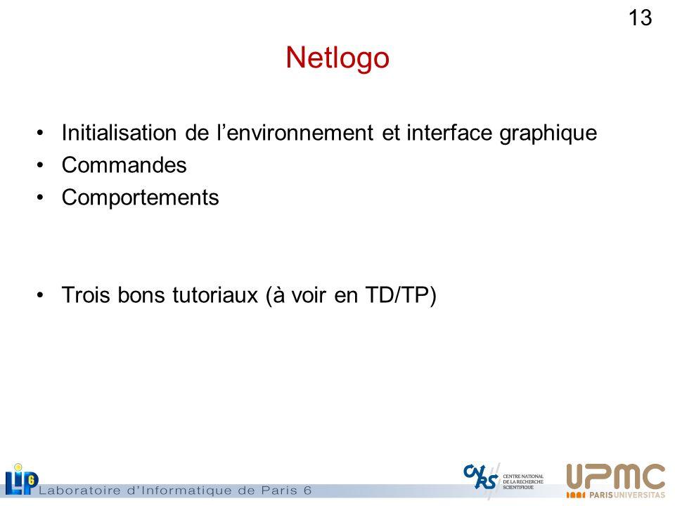 13 Netlogo Initialisation de lenvironnement et interface graphique Commandes Comportements Trois bons tutoriaux (à voir en TD/TP)