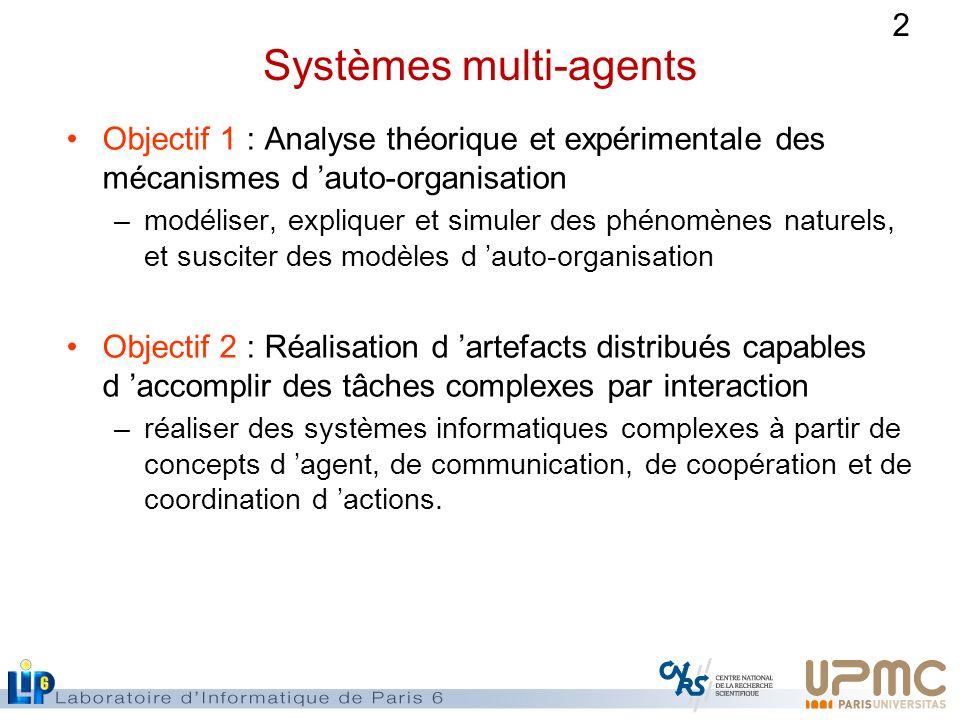 2 Systèmes multi-agents Objectif 1 : Analyse théorique et expérimentale des mécanismes d auto-organisation –modéliser, expliquer et simuler des phénom