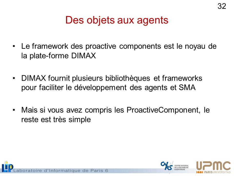 32 Des objets aux agents Le framework des proactive components est le noyau de la plate-forme DIMAX DIMAX fournit plusieurs bibliothèques et framework