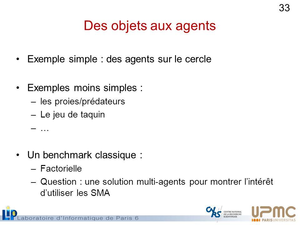 33 Des objets aux agents Exemple simple : des agents sur le cercle Exemples moins simples : –les proies/prédateurs –Le jeu de taquin –… Un benchmark c