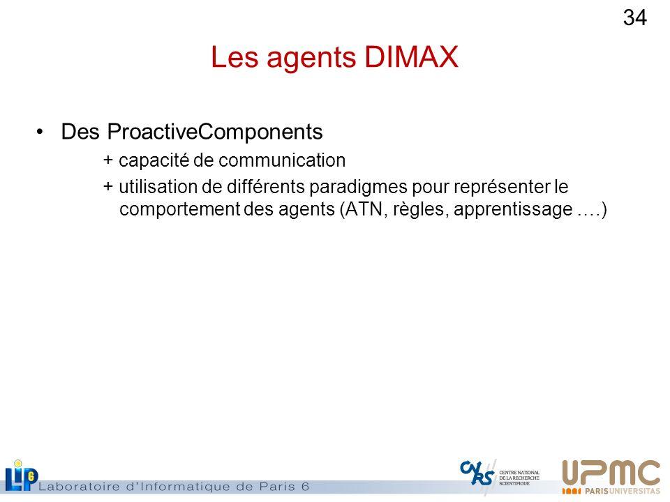 34 Les agents DIMAX Des ProactiveComponents + capacité de communication + utilisation de différents paradigmes pour représenter le comportement des ag