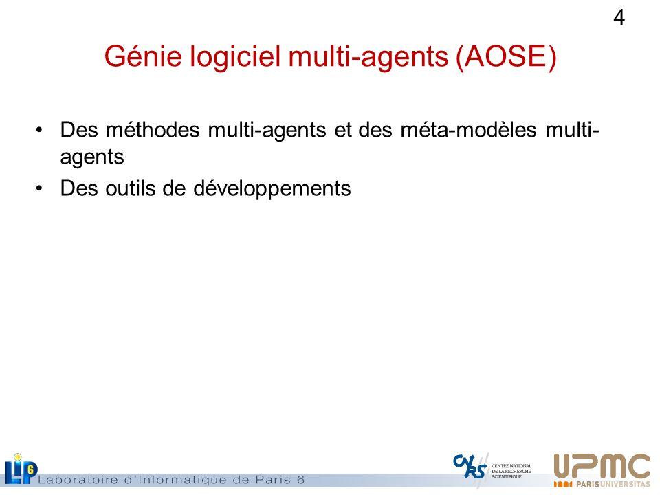 4 Génie logiciel multi-agents (AOSE) Des méthodes multi-agents et des méta-modèles multi- agents Des outils de développements