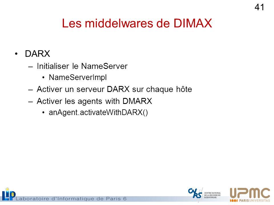 41 Les middelwares de DIMAX DARX –Initialiser le NameServer NameServerImpl –Activer un serveur DARX sur chaque hôte –Activer les agents with DMARX anA