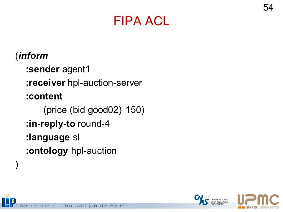 54 FIPA ACL (inform :sender agent1 :receiver hpl-auction-server :content (price (bid good02) 150) :in-reply-to round-4 :language sl :ontology hpl-auct
