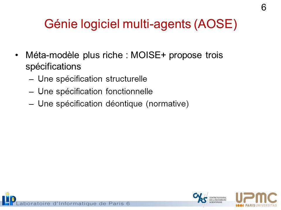 6 Génie logiciel multi-agents (AOSE) Méta-modèle plus riche : MOISE+ propose trois spécifications –Une spécification structurelle –Une spécification f