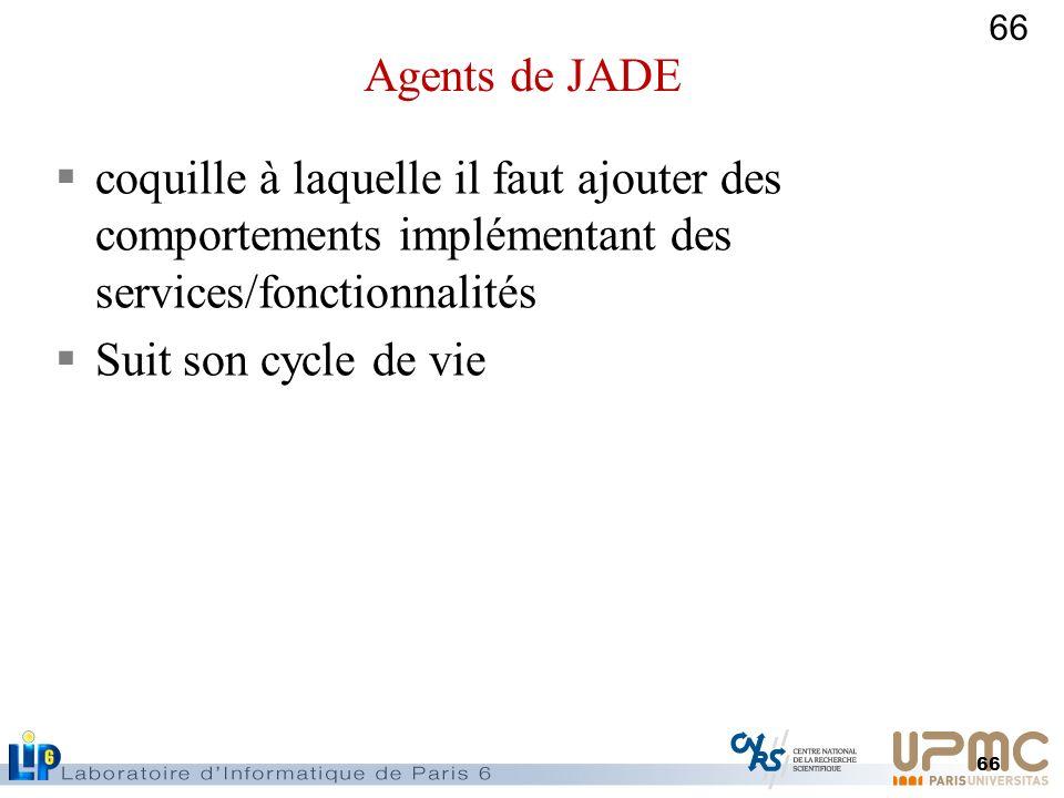 66 coquille à laquelle il faut ajouter des comportements implémentant des services/fonctionnalités Suit son cycle de vie Agents de JADE
