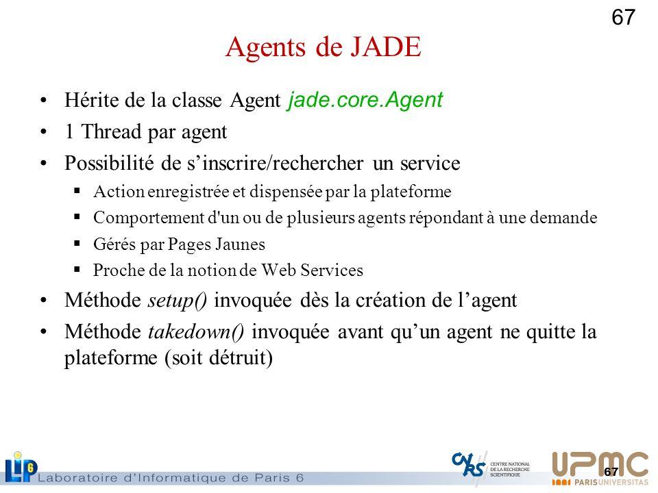 67 Hérite de la classe Agent jade.core.Agent 1 Thread par agent Possibilité de sinscrire/rechercher un service Action enregistrée et dispensée par la