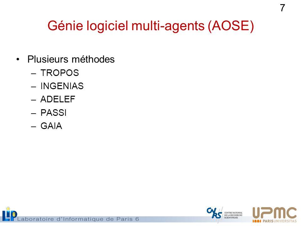 7 Génie logiciel multi-agents (AOSE) Plusieurs méthodes –TROPOS –INGENIAS –ADELEF –PASSI –GAIA
