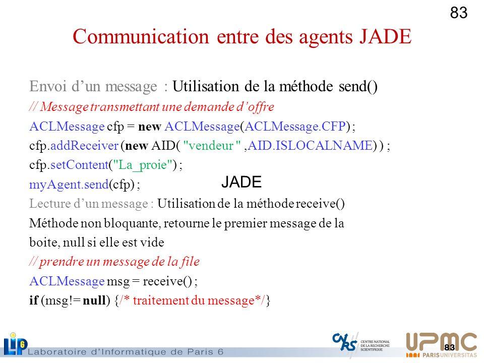83 Envoi dun message : Utilisation de la méthode send() // Message transmettant une demande doffre ACLMessage cfp = new ACLMessage(ACLMessage.CFP) ; c