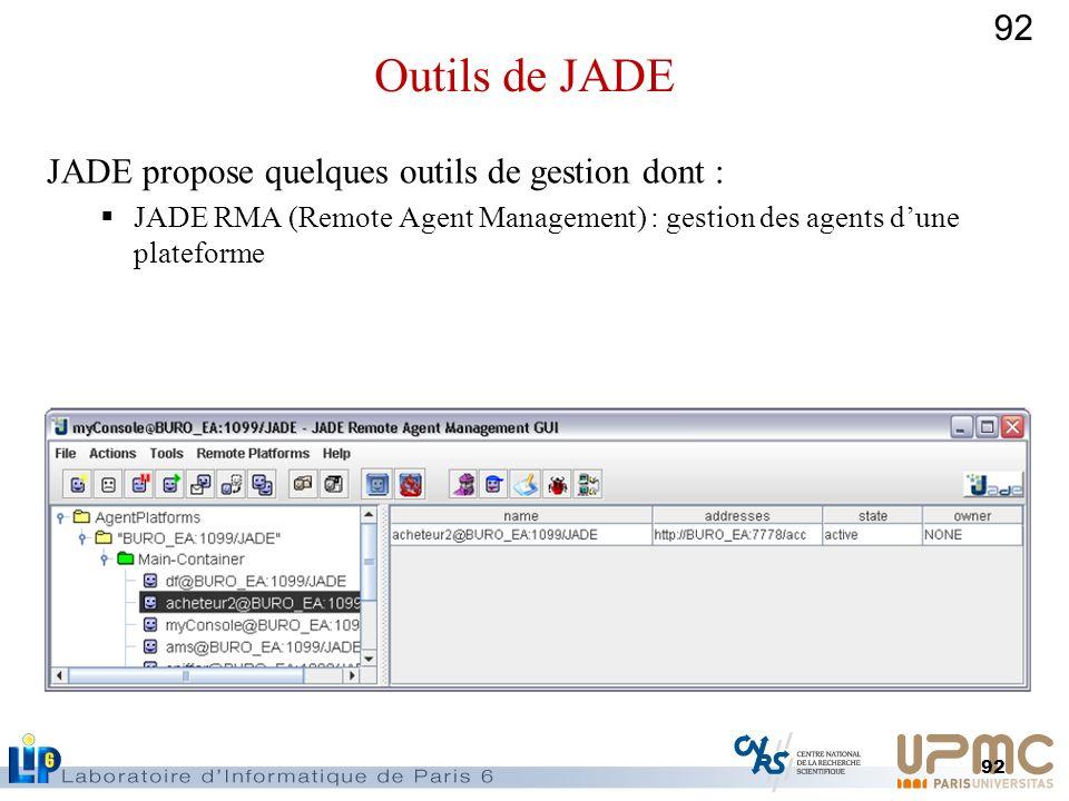 92 JADE propose quelques outils de gestion dont : JADE RMA (Remote Agent Management) : gestion des agents dune plateforme Outils de JADE