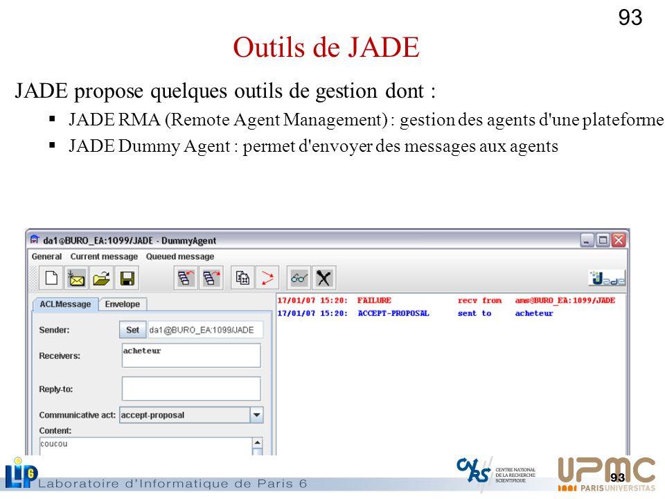 93 JADE propose quelques outils de gestion dont : JADE RMA (Remote Agent Management) : gestion des agents d'une plateforme JADE Dummy Agent : permet d