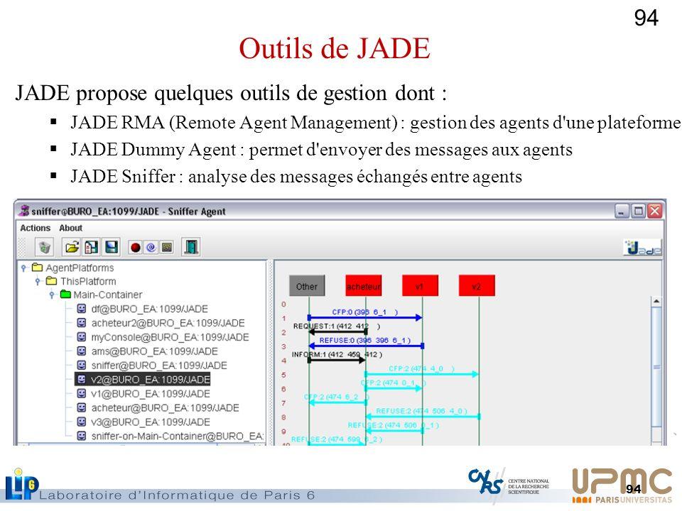 94 JADE propose quelques outils de gestion dont : JADE RMA (Remote Agent Management) : gestion des agents d'une plateforme JADE Dummy Agent : permet d