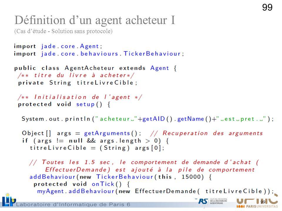 99 Définition dun agent acheteur I (Cas détude - Solution sans protocole)