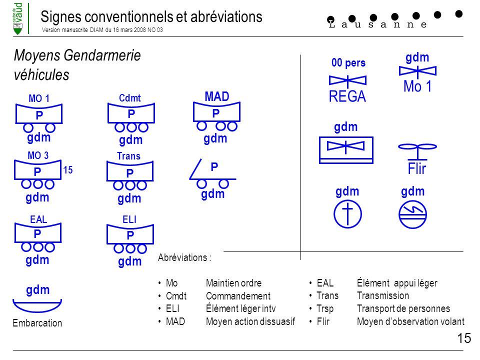 Signes conventionnels et abréviations Version manuscrite DIAM du 16 mars 2008 NO 03 LIBERTE ET PATRIE 15 Flir Moyens Gendarmerie véhicules EALÉlément