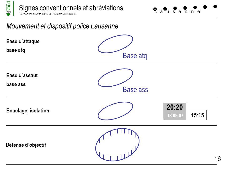 Signes conventionnels et abréviations Version manuscrite DIAM du 16 mars 2008 NO 03 LIBERTE ET PATRIE 16 Mouvement et dispositif police Lausanne Base